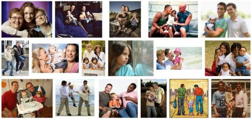 """happy gay parents"" collage courtesy Google Image search"