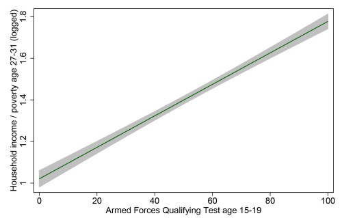 How well do teen test scores predict adult income