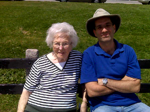Sylvia Cohen with Philip Cohen at Lake Michigan, Summer 2008.