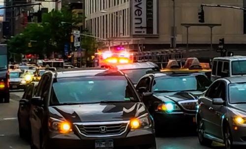 Ambulance stuck in Manhattan, by Philip Cohen