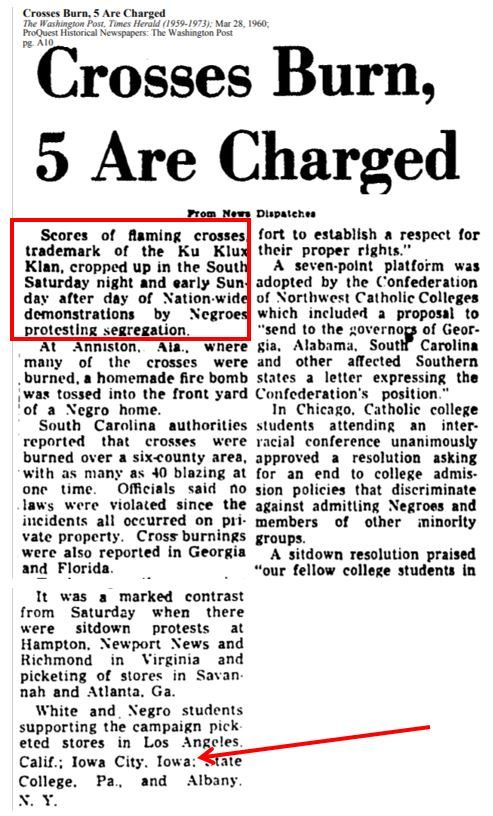 washington times herald article showing rash of cross burnings in south, and mentioning picketers supporting sit-ins in iowa city.