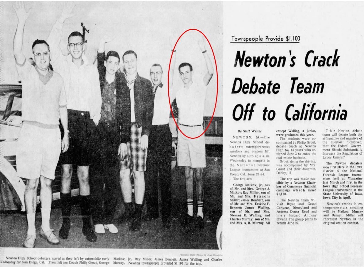 Picture of Newton debate team, including Charles Murray, in 1960